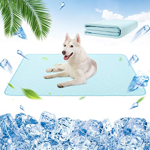 Dog Self Cooling Mat - Cooling Pads for Dogs, Washable Pet Cooling Blanket, Waterproof, Super Water Absorption Reusable Dog Pee Pads for Summer, Crate Mats for Pet Cages