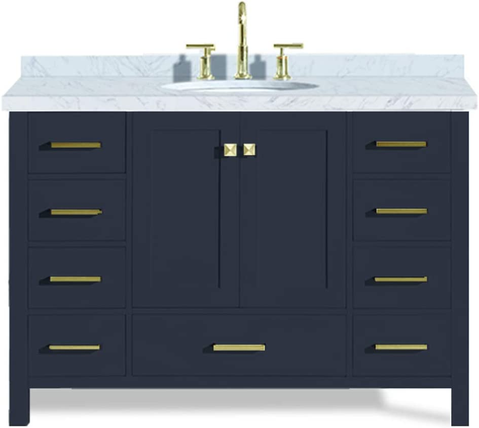 Amazon Com Ariel Cambridge A049s Vo Mnb 49 Inch Single Oval Sink Solid Wood Midnight Blue Bathroom Vanity With 1 5 Inch Edge White Carrara Marble Countertop Tools Home Improvement