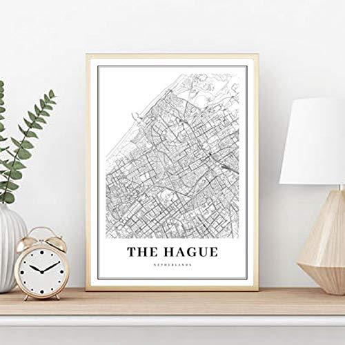 GUDOJK muurschildering De HAAG kaart afdrukken Hollmap kunst poster stad straatkaart kunst canvas schilderij afbeelding huis room muur art decor 40x60cm(16x24inch)