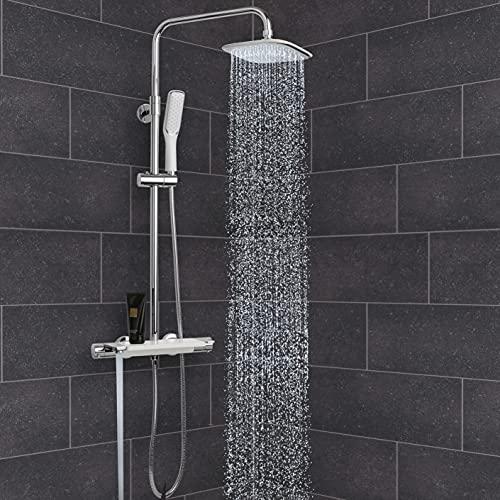 VILSTEIN Design Duschsystem, Regendusche | weiß & chrom | Komplettset mit Hand- Wannenbrause & Ablage | Verdrehschutz | Stufenlos verstellbar | Hochdruckarmatur