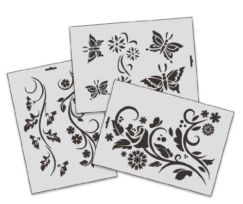 A4 Textil/Wand Schablonen SET-005 Floral A