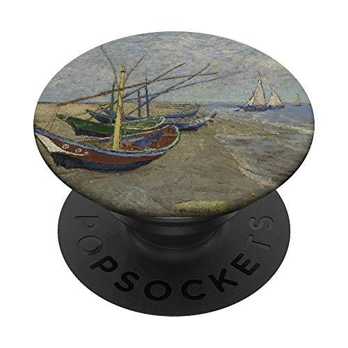 Barcos de pesca en la playa de Vincent Van Gogh PopSockets PopGrip: Agarre intercambiable para Teléfonos y Tabletas