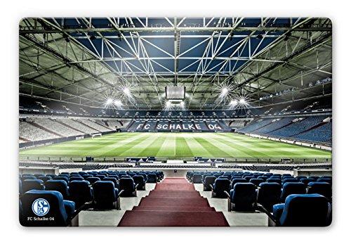 Schalke 04 Wall-Art - Glasbild Arena Tribüne mit abgerundeten Ecken und Wandhalterung (Vorrichtung) - Gesamtgröße: 60x40 cm - GA58913