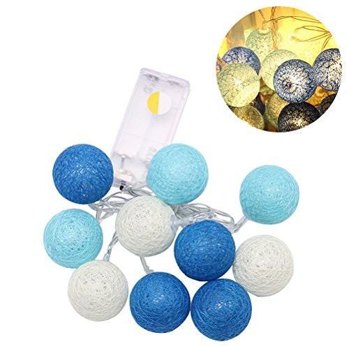LEDMOMO Luces de hadas de la noche de la secuencia de la bola del algodón de 2.3M 20 LED para la decoración casera de la fiesta de jardín (blanco caliente azul)