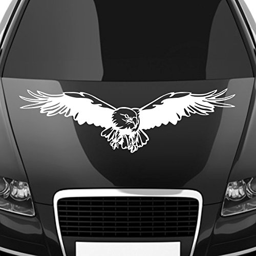 malango® Autoaufkleber Adler auf Motorhaube Aufkleber Dekoration Sticker Design Tuning Szene ca. 100 x 28 cm weiß weiß ca. 100 x 28 cm
