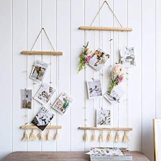 Picture Frame Collage Macrame Wall Decor Wooden Wall Decor 33.9 Inch Photo Display Pictures Organizer with Wood Clips (S)