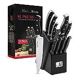 11-Piece Premium Kitchen Knife Set With Wooden Block | Master Maison German Stainless Steel Cutlery With Knife Sharpener & 4 Steak Knives (Black)
