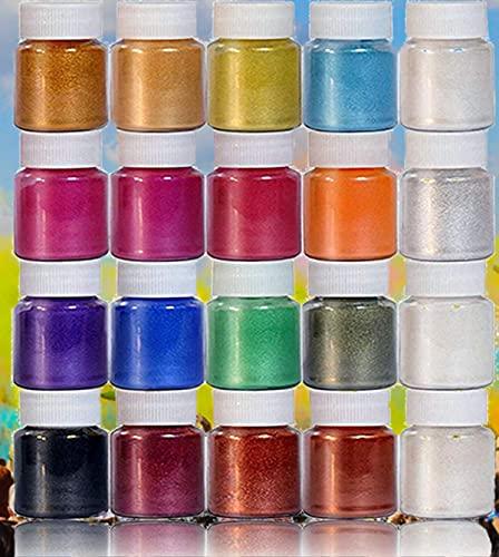 DEWEL Pigmenti per Resina Epossidica Colorante per Slime Mica Polvere Perlato 20 Colori * 10 g
