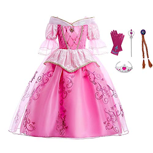 Disfraz de princesa Auro para nias Bella durmiente Nios Manga acampanada Fiesta Navidad Halloween Cosplay Costume Vestido de baile (Robe avec Accessoires, 150)