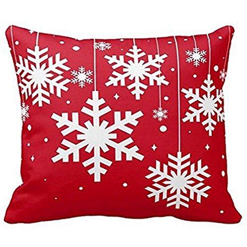 federe Cuscini,Fittingran Liquidazione Natale Babbo Natale Stampo Rosso Federa Buon Natale Federe per Cuscini Cuscino per Divano in Lino Home Decor Pillow Case (L)
