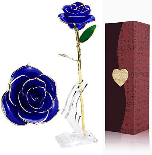 Rosa de Oro 24K,Rosa Eterna Flores Chapadas en Oro Con Base Soporte Transparente y Caja de Regalo para el Día de San Valentín,el Día de Madre, Mujer,Novia, Esposa,Aniversario,Cumpleaños Regalo (Azul)