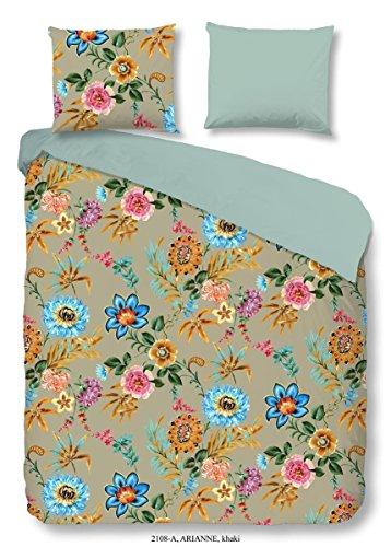 Good Morning! 2108.52.12 Parure de lit 2 pièces en coton renforcé avec housse de couette 155 x 220 cm et taie d'oreiller 80 x 80 cm Motif fleurs Kaki
