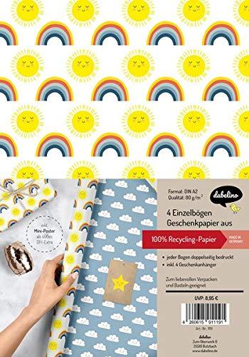 Geschenkpapier-Set für Kinder: Regenbogen, Sonne und Wolken: 4x Einzelbögen + 4x Geschenkanhänger