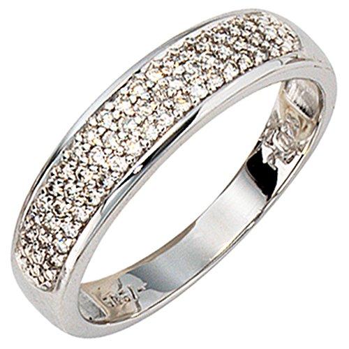 JOBO Damen-Ring aus 585 Weißgold mit 50 Diamanten Größe 54