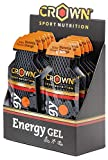Crown Sport Nutrition Gel Energético - con o sin Cafeína - 10 unidades Carbohidratos en ratio 2:1:1 (Maltodextrina - Dextrosa - Fructosa) Ciclismo Running Deporte Entreno