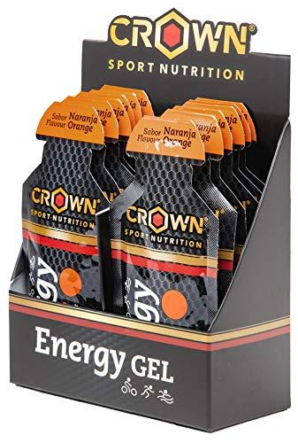 Crown Sport Nutrition Gel Energetico - 10 x Carboidrati, Caffeina, Guaranà, Elettroliti, Taurina, Arginina, Sodio, Magnesio, Potassio (Arancia)