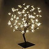 Lámpara de árbol de Navidad con forma de cerezo y luz LED de 45 cm con 48 ledes de color blanco cálido, base estable de metal cuadrado, iluminación para árbol de Navidad