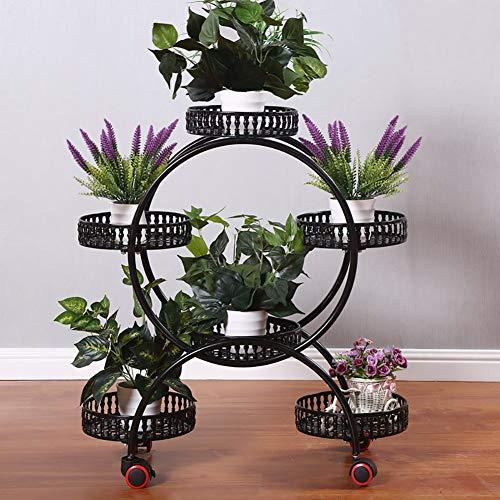 Bloemenstandaard smeedijzeren multi-layer bloempot rack vloer bloemenstandaard multifunctionele opbergrek met wielen kan 6 potten plaatsen 50 * 28 * 30cm,Black