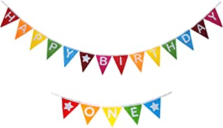 Monord First Birthday Party Decorations, Rainbow Felt Happy First Birthday Banner and Rainbow Felt One High Chair Banner for 1st Birthday Party