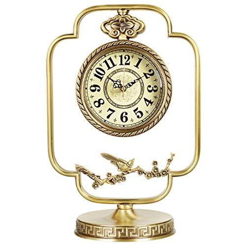 A-ZHP Creativo Retro Latón Reloj de Mesa Moda Mute Reloj Reloj de Mesa de Estilo Europeo Sala Decoración Sentado Reloj