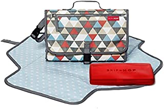 Skip Hop Pronto Signature Portable Changing Mat, Cushioned Diaper Changing Pad with Built-in Pillow, Triangles