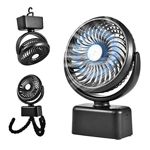 Camping Ventilator 5000 mAh Akku mit LED-Licht, Mini Clip Fan mit Drei Geschwindigkeitsstufen,Kinderwagenlüfter, 360 Grad Drehung des Clip Lüfter-Schreibtischlüfters
