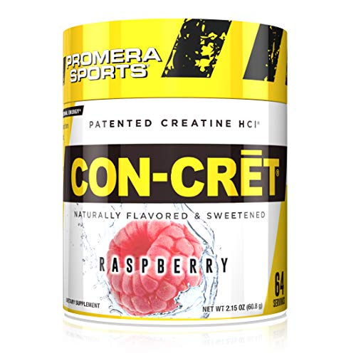 Promera Sports, CON-CRET Creatine HCl Powder, Micro-Dose Creatine, No Bloating, No Upset Stomach, No Water Retention, No Loading, Made in USA, Gluten-Free, Raspberry, 64 Servings