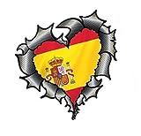 En Forma de Corazón Efecto Fibra de Carbono Rasgado Metálico Corte Diseño&España Bandera Española Pegatina Vinilo Coche 105x100mm
