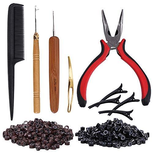Hair Extension Kit Tang Hook Loop Needle Tool en 200 stuks Nano Ring Beads met 1pack Comb Hair Extension