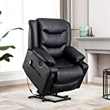 Power Lift Massage Recliner Chair,EVER ADVANCED Lazy Boy Sofa for Elderly,Infinite-position Lift Chair to 150 degree,Support 360 lb,Heat,Remote Control,Cup Holders USB Port,Office or Living Room,Black
