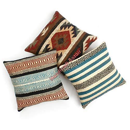 Handicraft Bazarr 3-teiliges Set, marokkanisches Halloween-Gewebe, Wolle, Jute, Kelim-Kissen, handgewebt, Bettkissen, Vintage-Kilim-Kissenbezug.
