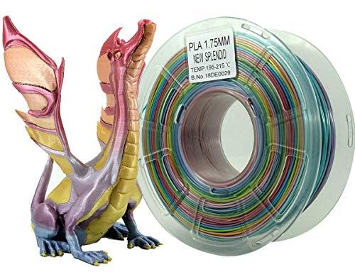 Stronghero3D 3D Printing Filament PLA Rainbow Multicolors Gradiant 1.75mm 1KG Accuracy +/-0.05mm (New Rainbow)