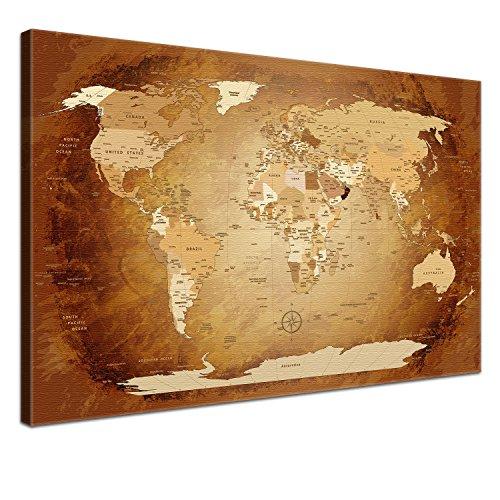 Worldmap Braun Colorful, 120 x 80 cm, einteilig, Premium mit Kork, englisch