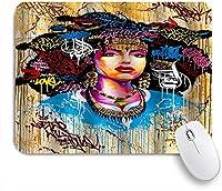 NIESIKKLAマウスパッド 女性の高貴な爆発の頭古典的なファッション人格ヒップホップのグラフィティスタイル ゲーミング オフィス最適 おしゃれ 防水 耐久性が良い 滑り止めゴム底 ゲーミングなど適用 用ノートブックコンピュータマウスマット