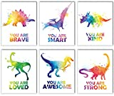 Dinosaur Posters Room Décor For Boys   Kids Motivational Colorful Watercolor Dinosaur Wall Art   Boys Room Decorations For Bedroom   Animal Wall Art Prints For Bedroom, Nursery, Playroom, And Classroom   Set of Six 8x10 Wall Art Prints (Unframed)