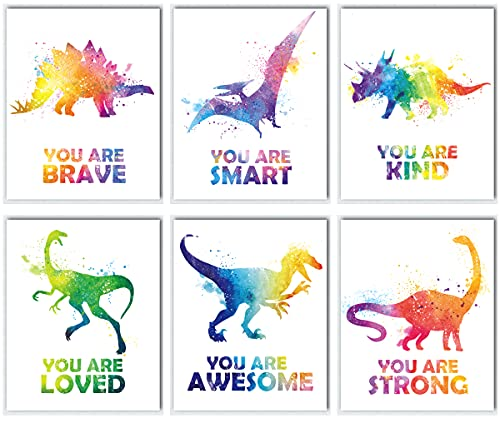 Dinosaur Posters Room Décor For Boys | Kids Motivational Colorful Watercolor Dinosaur Wall Art | Boys Room Decorations For Bedroom | Animal Wall Art Prints For Bedroom, Nursery, Playroom, And Classroom | Set of Six 8x10 Wall Art Prints (Unframed)
