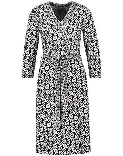 Gerry Weber Damen Kleid mit Wickeleffekt figurumspielend, tailliert Dark Navy Bleu Druck 46