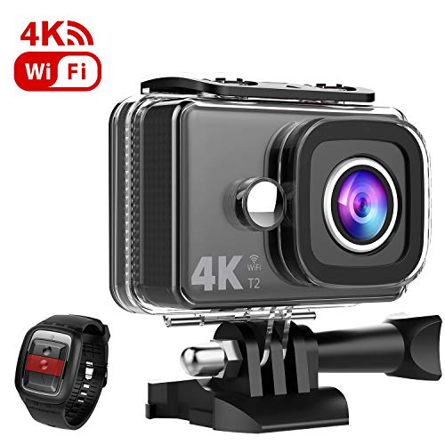 TEC.BEAN 4K Action Camera 45M Waterproof Camera EIS 170°Wide Angle 4X Zoom WiFi Underwater Camera with Remote and Mounting Accessories Kit Compatible with go pro