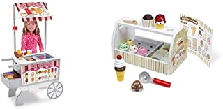 Melissa & Doug Wooden Snacks & Sweets Food Cart - The Original (Best for 3, 4, 5, 6, and 7 Year Olds) & Wooden Scoop & Ser...