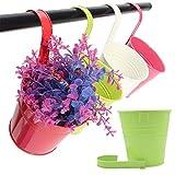 Lot de 10 pots de fleurs en métal à suspendre - Pour une clôture ou un balcon - Avec crochet amovible