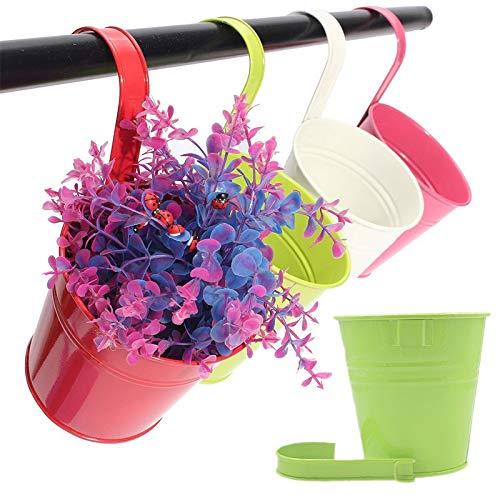 10 Pz 10 cm metallo colorato vasi per piante sospese con gancio staccabile, vasi da fiori recinzione giardino appeso titolare di fiori per esterno
