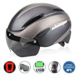 Shinmax Bike Helmet, Bicycle Helmet CPSC&CE Certified with USB Charging Rare Light&Detachable Magnetic Goggles&Carrying...
