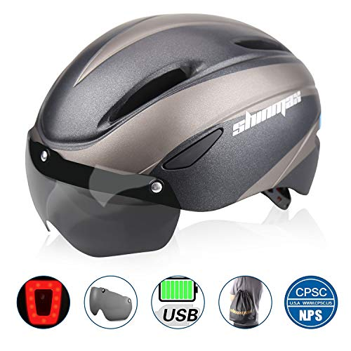 Shinmax Bike Helmet, Bicycle Helmet CPSC&CE Certified with USB Charging Rare Light&Detachable Magnetic Goggles&Carrying Bag Adjustable Cycling Helmet for Adult Road/Biking/Mountain/Urban Commuter