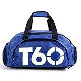 Bolsa de deportes unisex de 35 L, de gran capacidad, con compartimento para zapatos, de Obling, color Azul con blanco, tamaño 45*25*30 CM