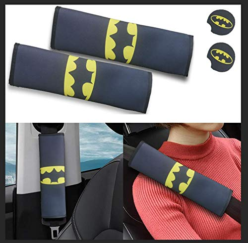 Lazynice 2 Packs Car Seat Belt Pads Cover Skin + 2pcs Car Cup Holder Coasters, Universal Car Seat Belt Shoulder Pads Strap Covers for Adults, Soft Comfort Car Seat Belt Cushions (Batman)
