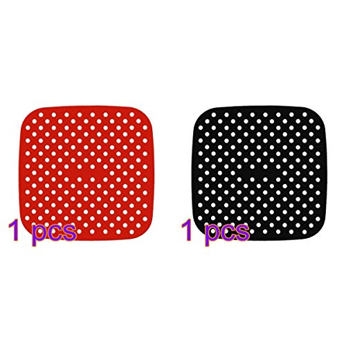 FitBest 2 Packs Reusable Air Fryer Liner Non Stick Silicone Mats 8.5 Inch Square Perforated Pad BPA Free Eco-Friendly Easy to Clean for Air Fryer Steaming Baking Cooking 1 Red & 1 Black