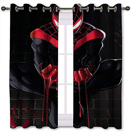 Cortinas de tratamiento para ventanas con diseño de hombre araña y sangre se desliza de los dedos de fondo cortinas (132 x 160 cm)