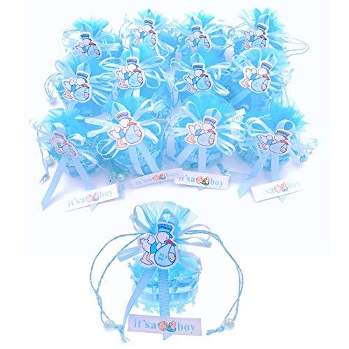 JZK 12 x It's a Boy mini azul canasta de organza favorecer bolsas cajas de dulces de regalo para niño baby shower Invitados de boda fiesta comunion o bautizo cumpleaños