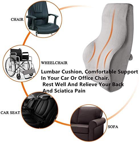 Lumbar ondersteuning Memory Foam Kussen, rugsteun Kussen, Lumbar Kussen voor Auto Thuis Office Stoel, Ergonomie Orthopedische Ontwerp Relieve Back Sciatica en Tailbone Pijn