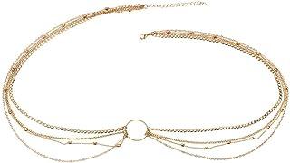 FemNmas Gold Metal Bikini Beach Crossover Harness Necklace Waist Belly Body Chain Jewelry for Women